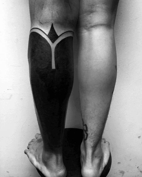 Blackout Leg Sleeve Mens Tattoo Ideas