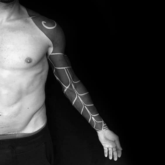 Solid Black Tattoos: 60 Blackout Tattoo Sleeve Designs For Men