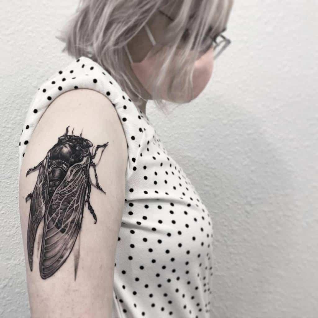blackwork Cicada Tattoos rickschenktattoo