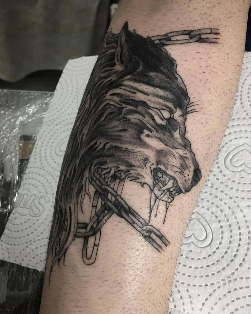 blackwork Norse Wolf Tattoos bryanmayers