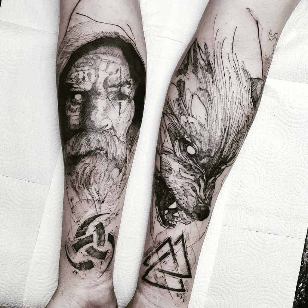 blackwork-Norse-Wolf-Tattoos-vitorfernandoof