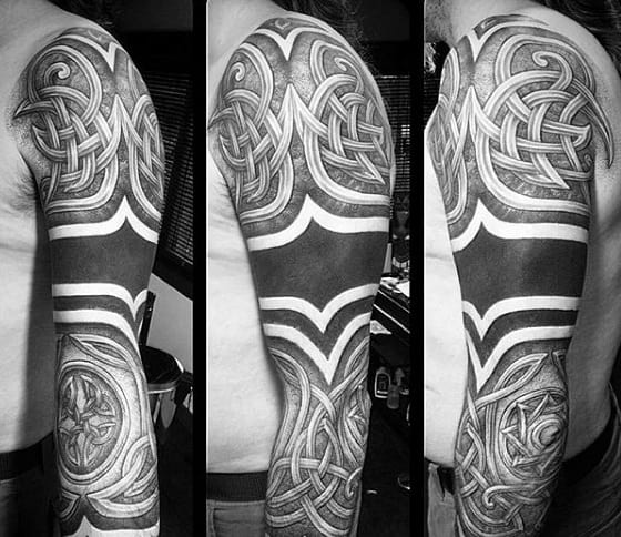 Blackwork Celtic Knot Mens Sleeve Tattoos