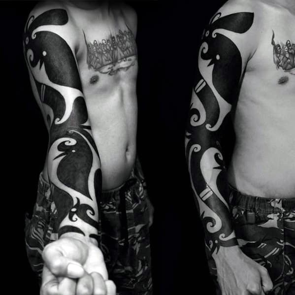 Blackwork Full Arm Guys Tattoos With Badass Tribal Design