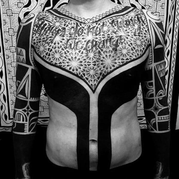 Blackwork Geometric Chest Guys Tattoos