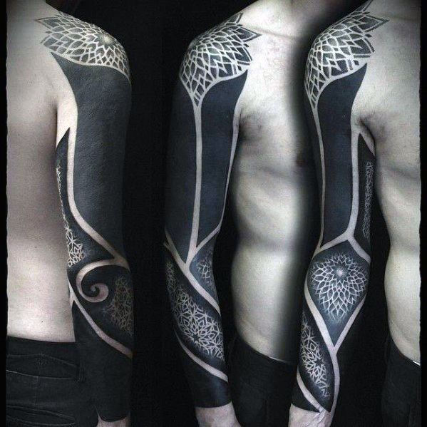 Blackwork Geometric Pattern Manly Guys Cover Up Sleeve Tattoos