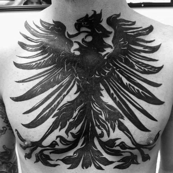 Blackwork Guys German Eagle Full Chest Tattoos