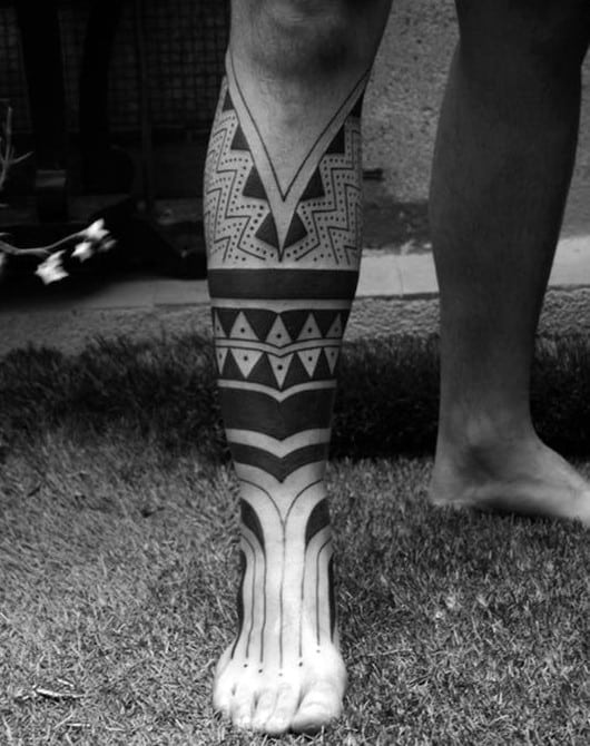 Blackwork Guys Leg And Foot Tribal Geometric Tattoo Ideas