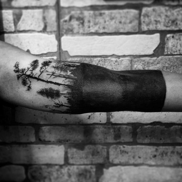 Blackwork Guys Tree Sleeve Tattoos