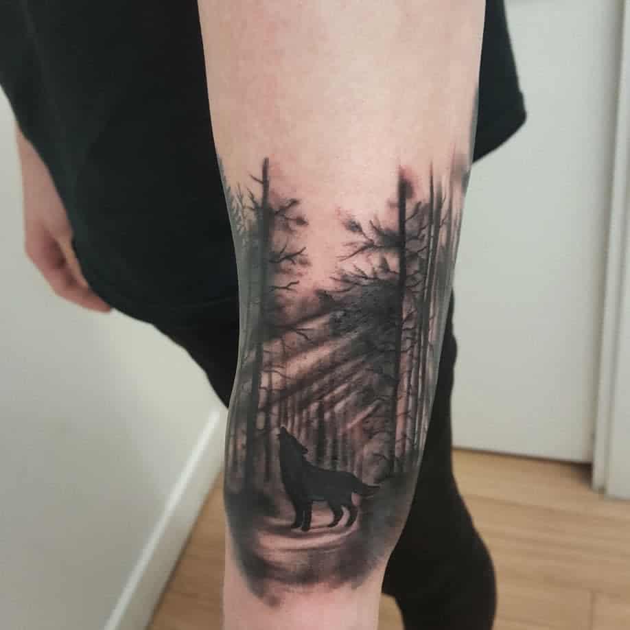 blackwork howling wolf tattoo amandafoxtattoo