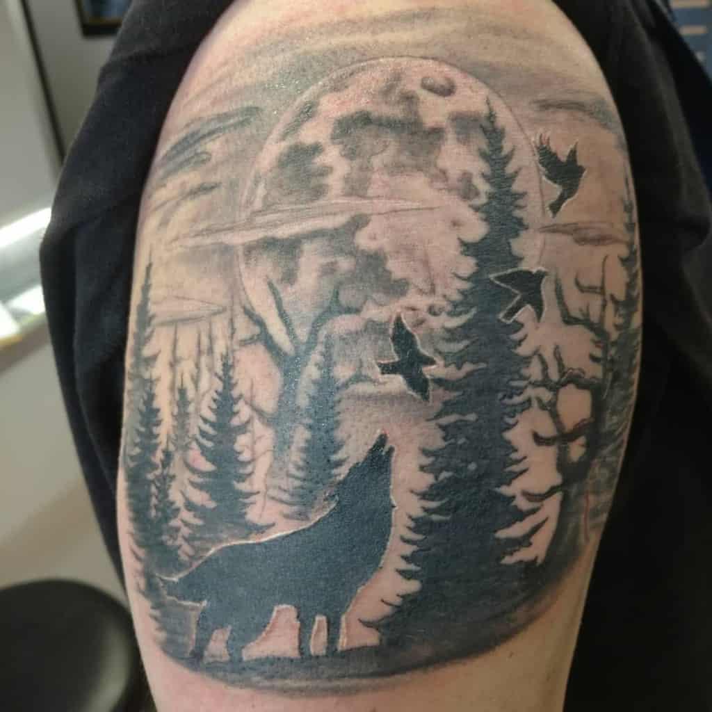 blackwork howling wolf tattoo james_watson_tattoos