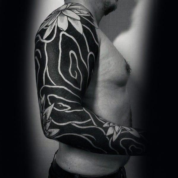 Blackwork Insane Mens Full Arm Sleeve Tattoo With Flowers
