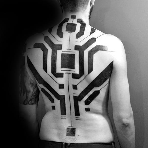 Blackwork Lines Unique Back Mens Tattoo Inspiration
