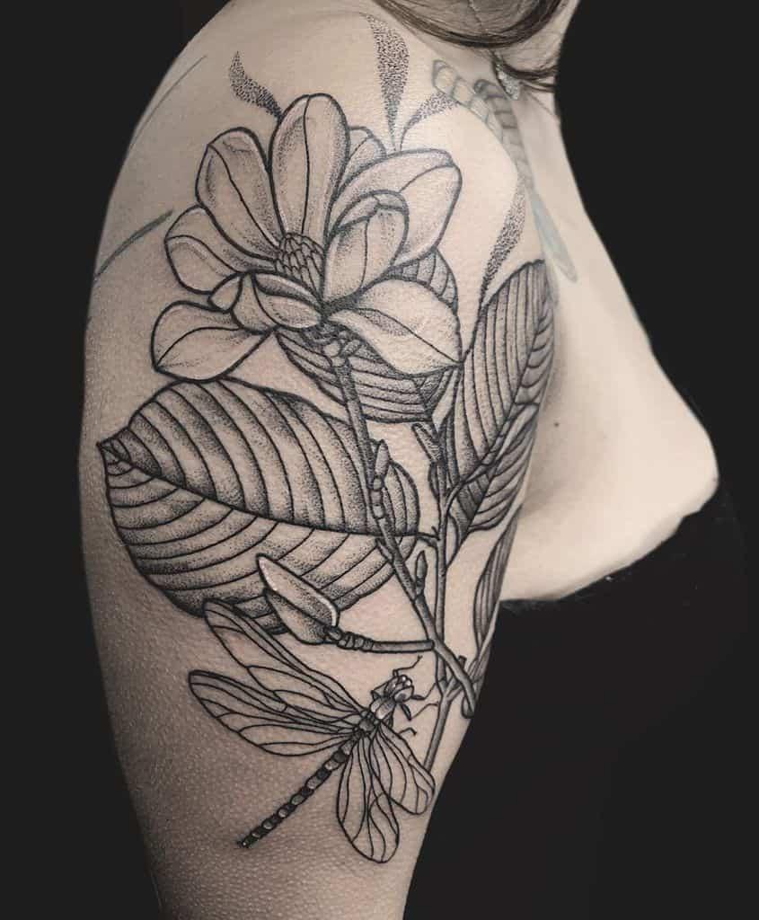 blackwork magnolia tattoos rose_tattoo