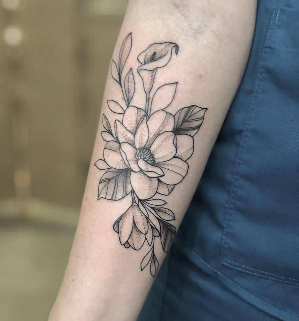 blackwork magnolia tattoos superrgeek