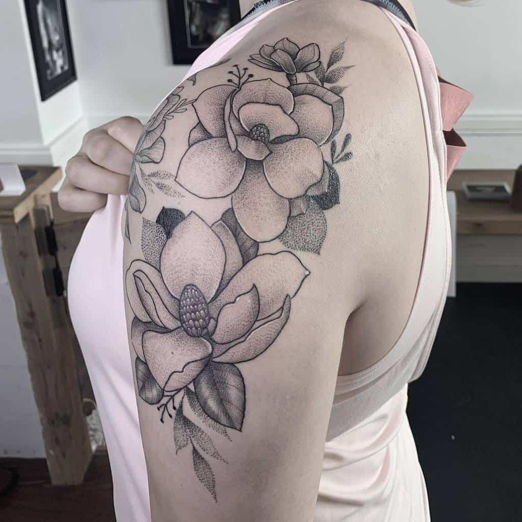 blackwork magnolia tattoos tamytattooer