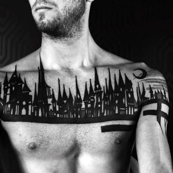 Blackwork Male Building Upper Chest Tattoos