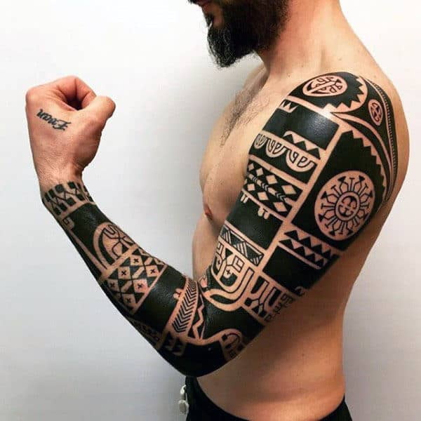 Blackwork Male Hawaiian Tribal Tattoo Arm Sleeve Design Ideas