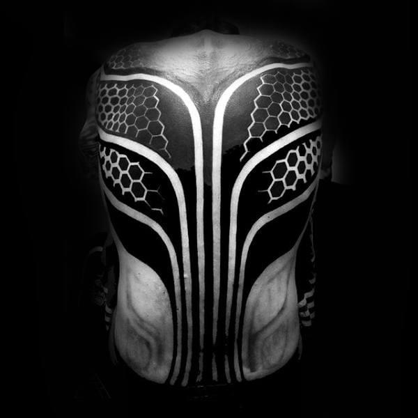 Blackwork Male Hexagon Pattern Factal Back Tattoos