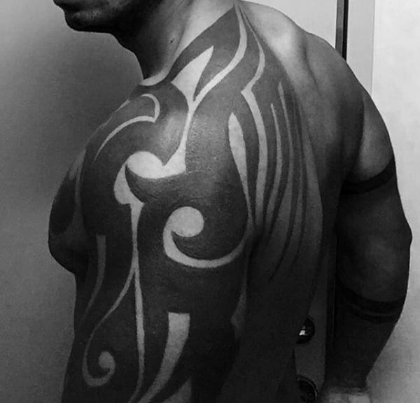 Blackwork Male Tribal Shoulder Tattoos