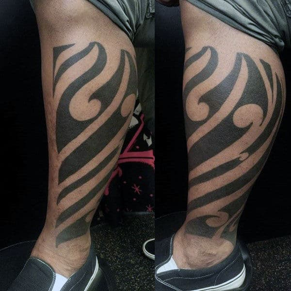 Blackwork Male Tribal Tattoo Idea Sfor Legs