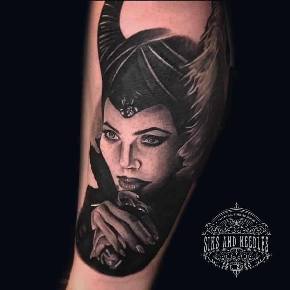 Blackwork Maleficent Tattoos Sinsandneedleshalifax