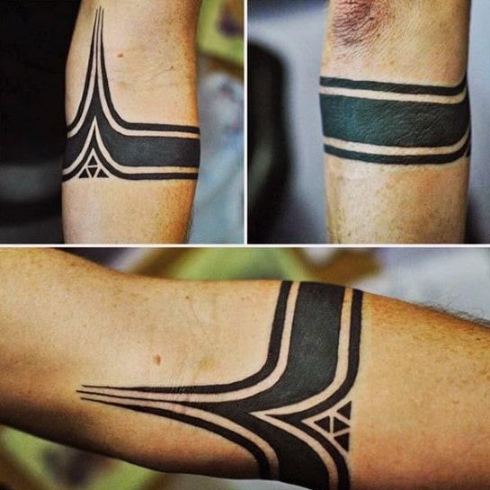 Blackwork Masculine Mens Forearm Band Tattoo