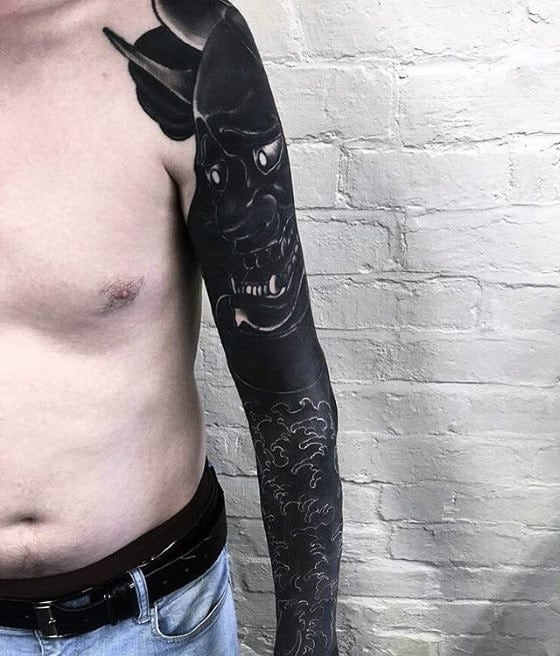 Blackwork Mens Japanese Wave Demon Oni Mask Sleeve Tattoo Design