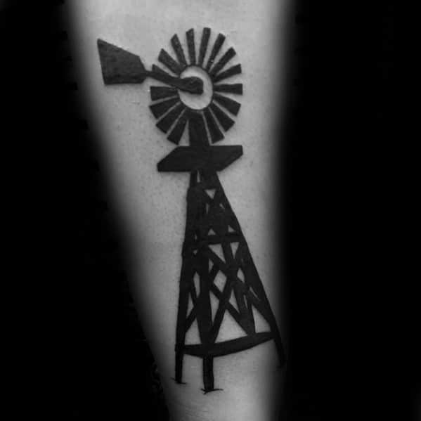 Blackwork Mens Small Windmill Tattoo Design Ideas On Inner Forearm