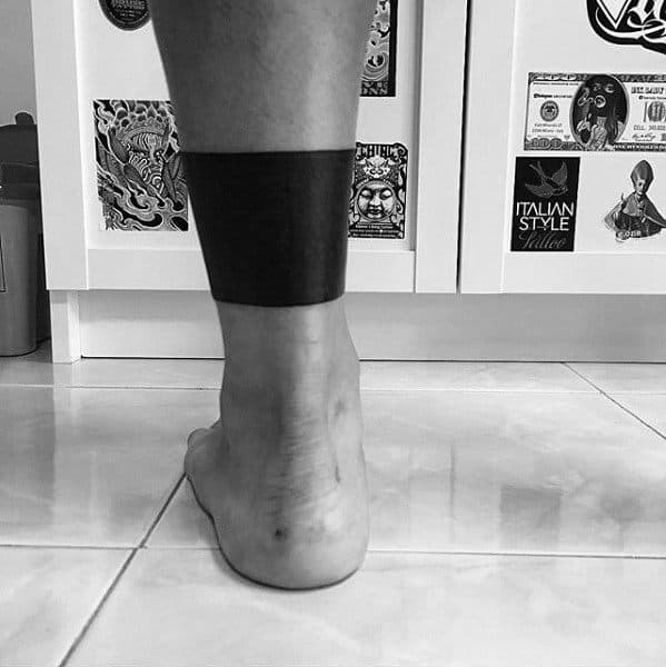 Blackwork Mens Solid Black Ink Leg Band Tattoo