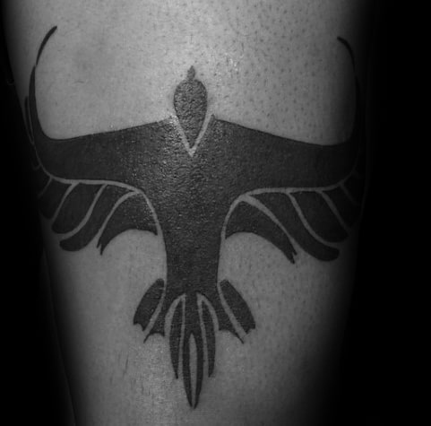 Blackwork Mens Tribal Bird Negative Space Arm Tattoo