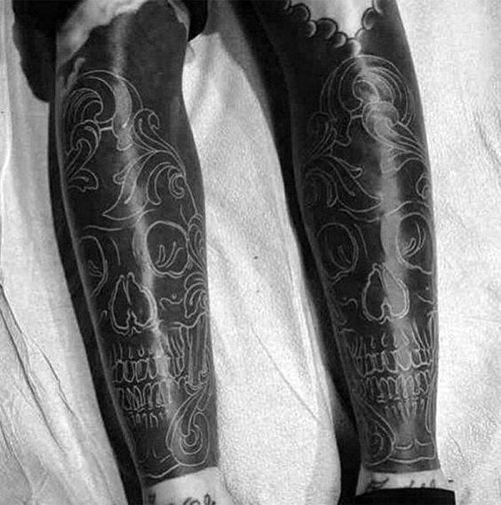 Blackwork Mens White Ink Unique Skull Leg Sleeve Tattoos