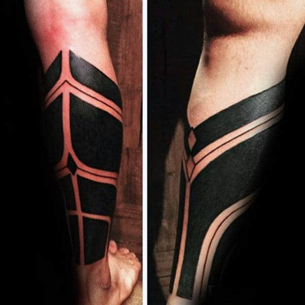 Blackwork Modern Tribal Male Tatoos For Legs