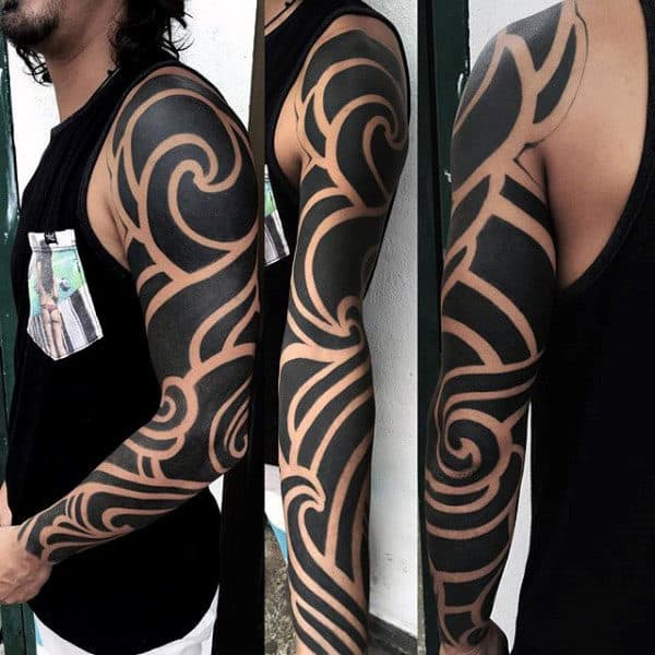 Blackwork Negative Space Full Sleeve Male Arm Tattoos Tribal