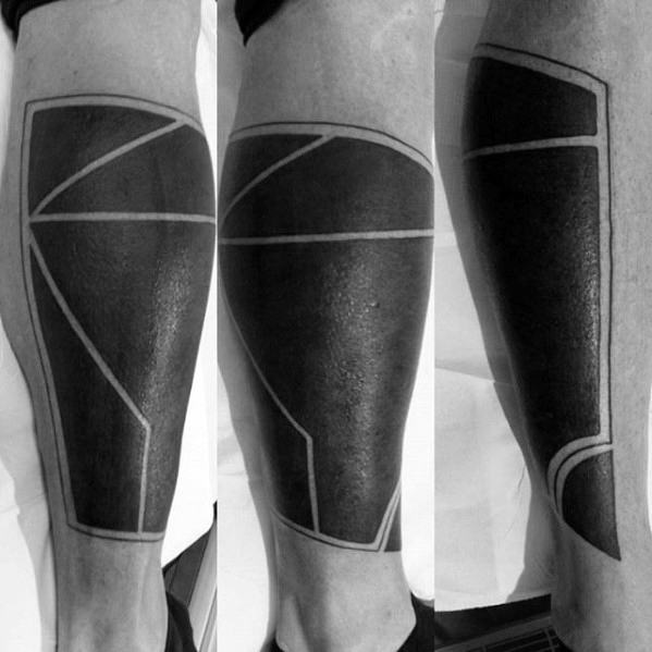 Blackwork Negative Space Geometric Tattoo Cover Up Ideas For Men