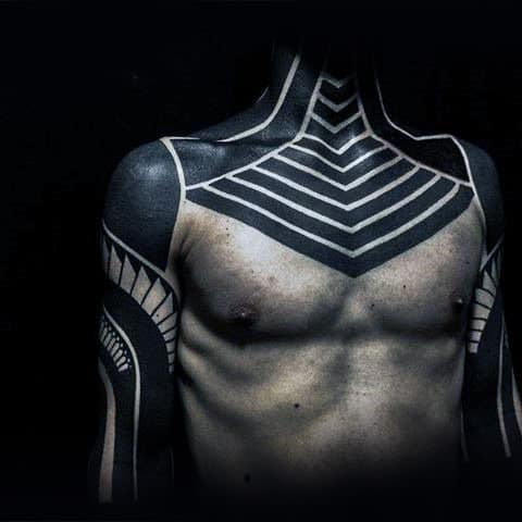 Blackwork Negative Space Insane Chest Tattoos For Males