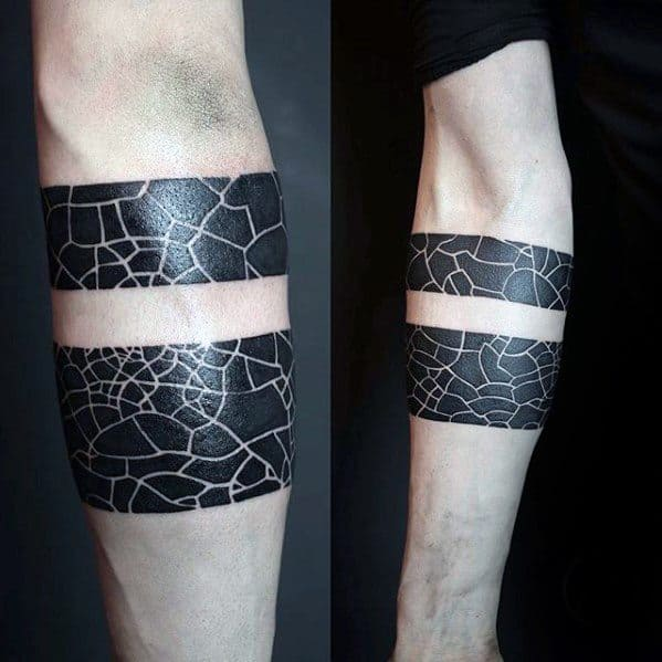 Blackwork Negative Space Pattern Small Manly Mens Forearm Band Tattoo