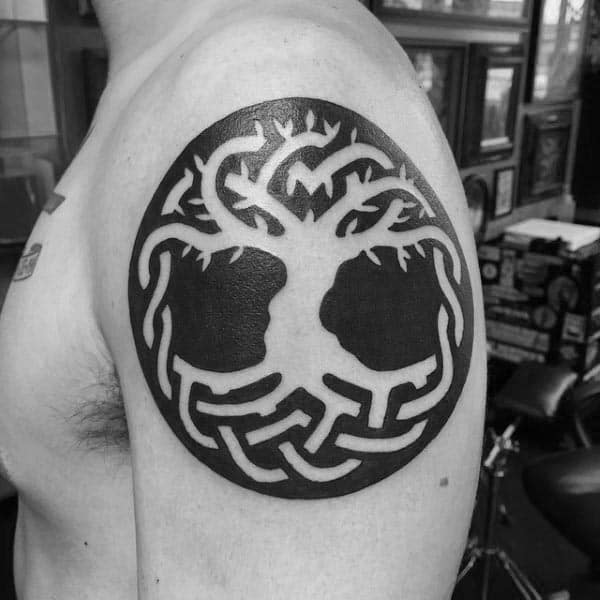 Blackwork Negative Space Tree Of Life Circle Mens Upper Arm Tattoo