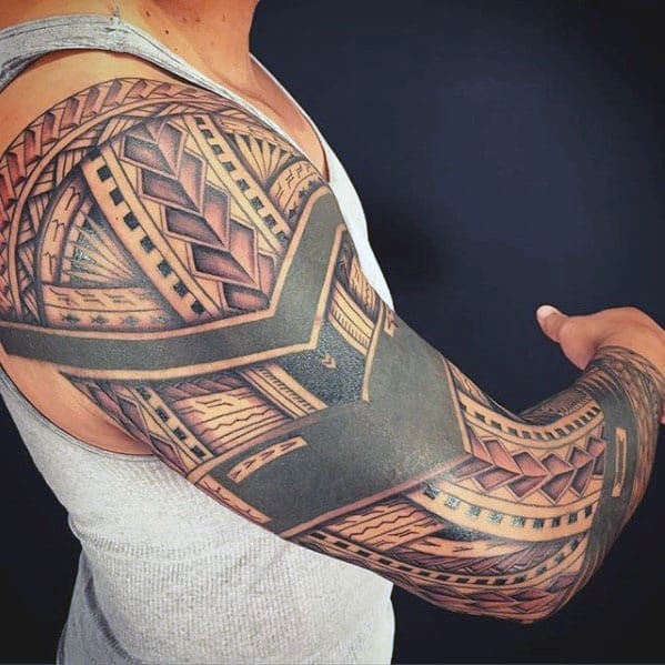 Blackwork Polynesian Tribal Male Sleeve Tattoos