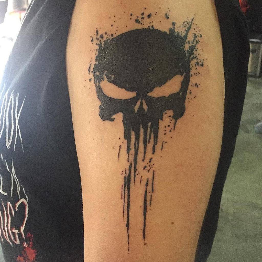 blackwork punisher skull tattoo jmowray.tattooer