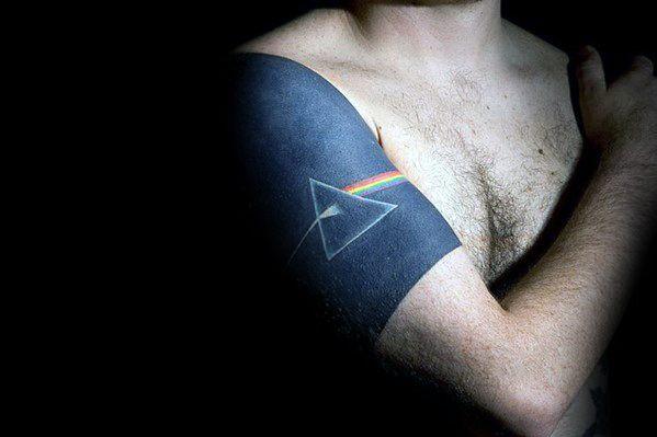 Blackwork Quarter Sleeve Masculine Pink Floyd Tattoos For Men