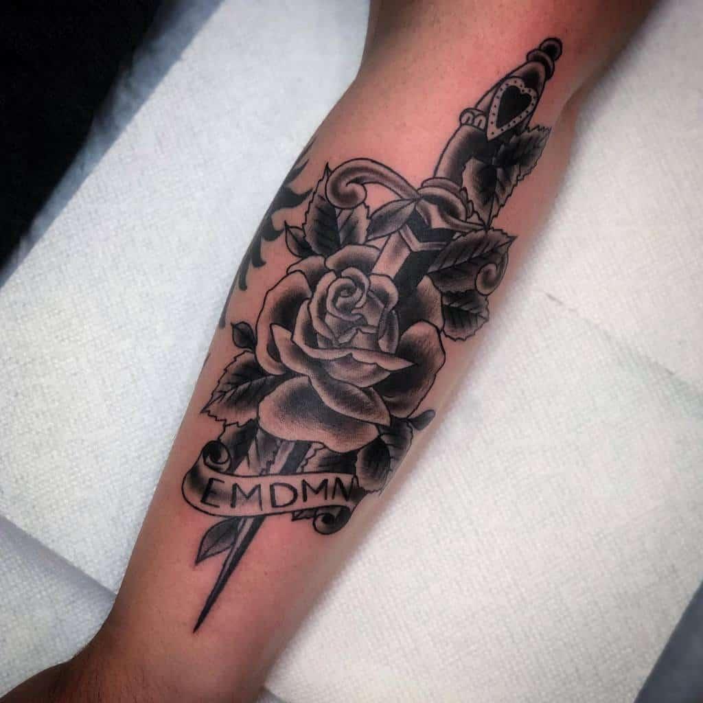 blackwork rose and dagger tattoos chrisdrtstattoo