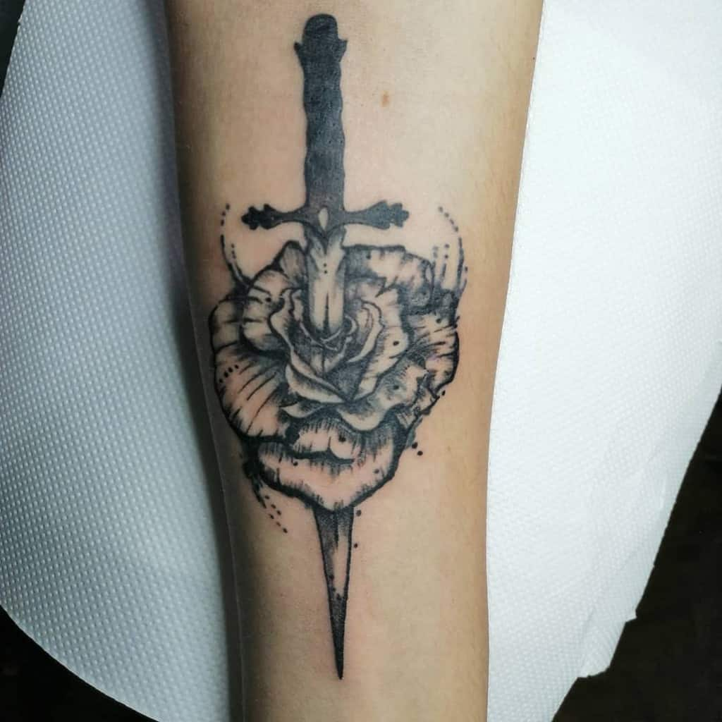 blackwork rose and dagger tattoos tokaji_art