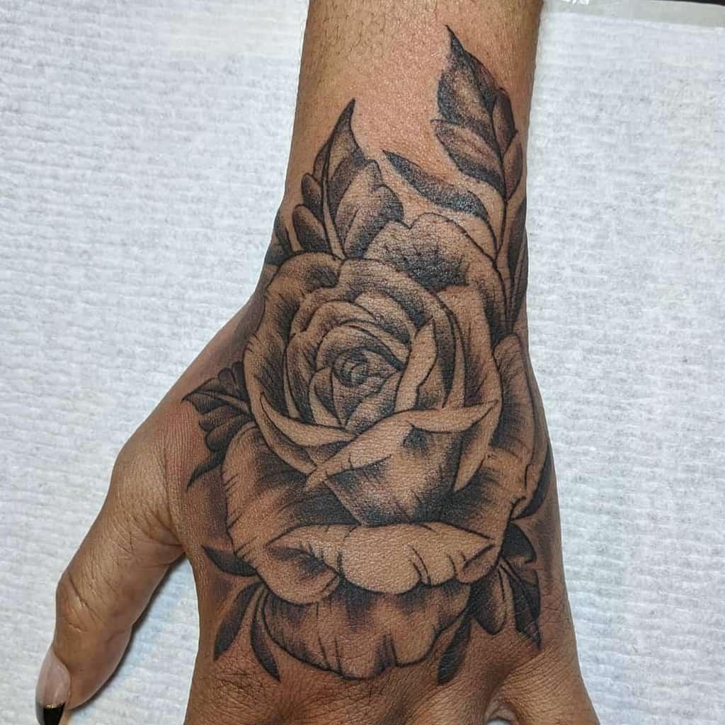 blackwork rose hand tattoos aprilteixeira art