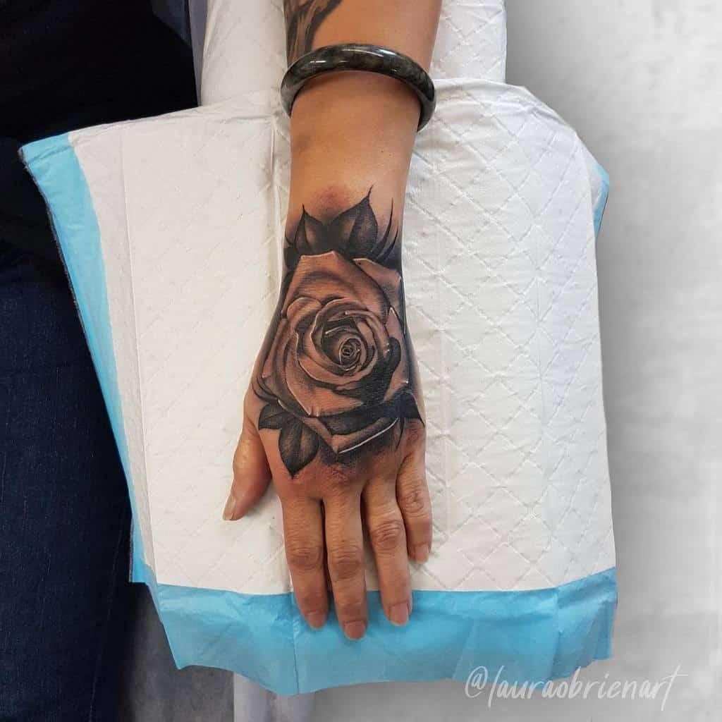 blackwork rose hand tattoos lauraobrienart