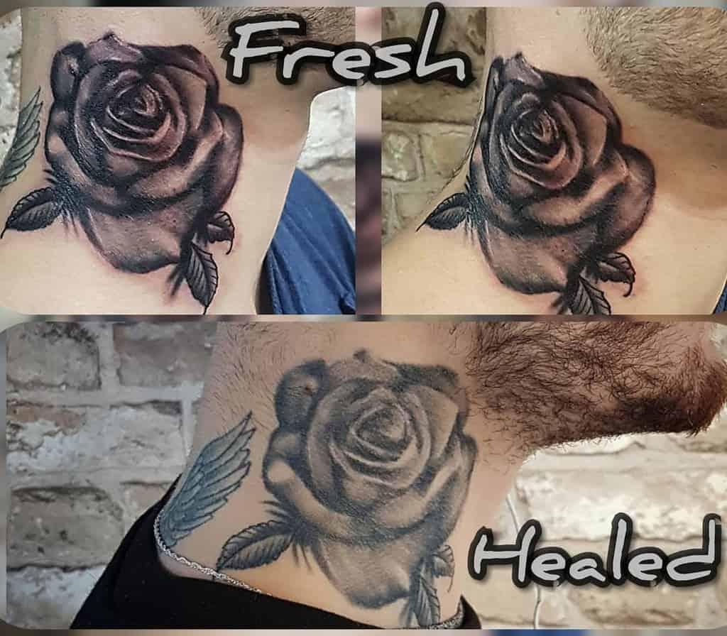 blackwork rose neck tattoos deadluckytattoo