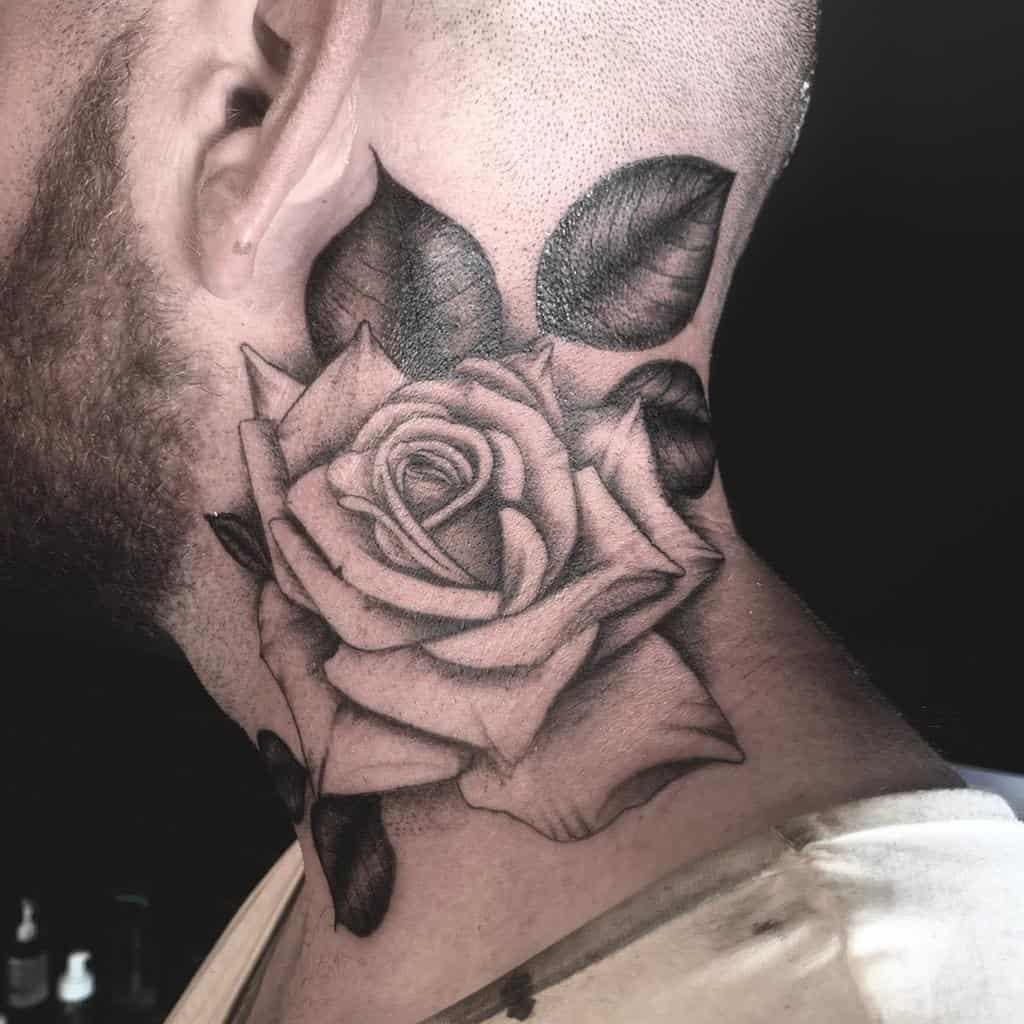 blackwork rose neck tattoos dotworktomtattoo