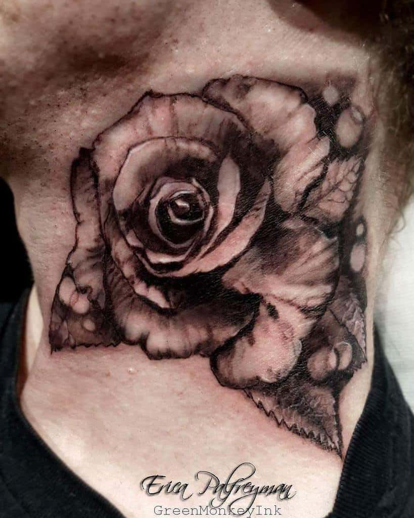 blackwork rose neck tattoos ericapalfreyman