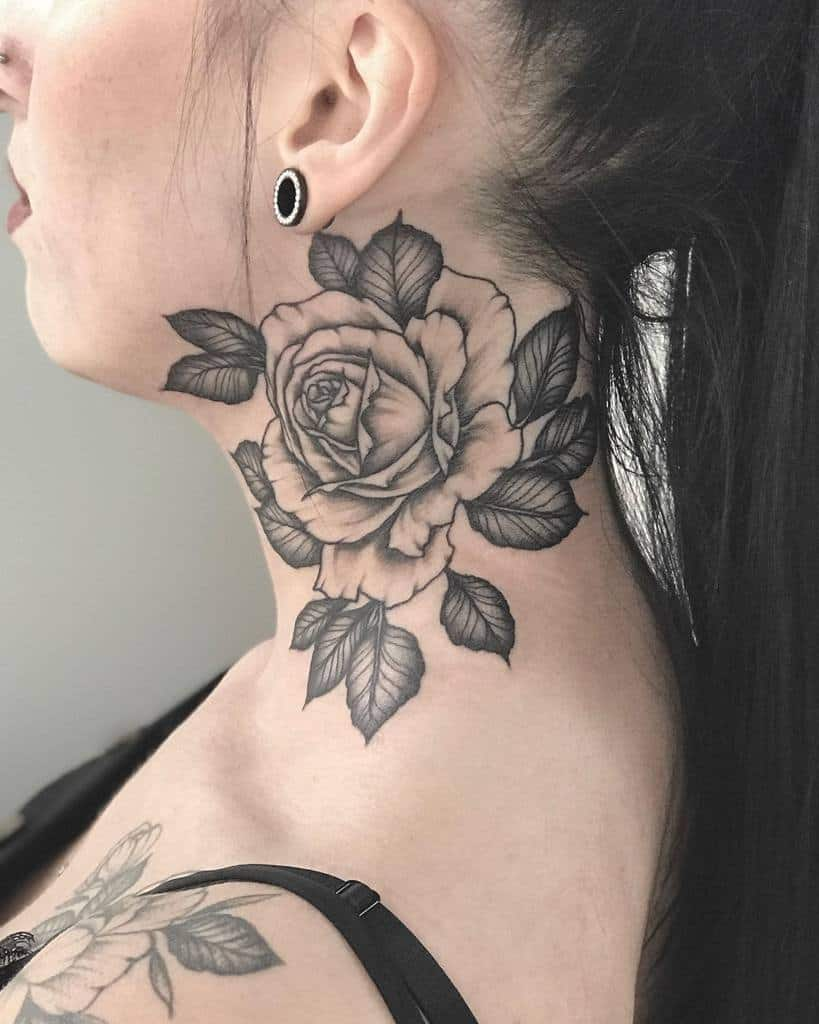 blackwork rose neck tattoos goldwerk_store