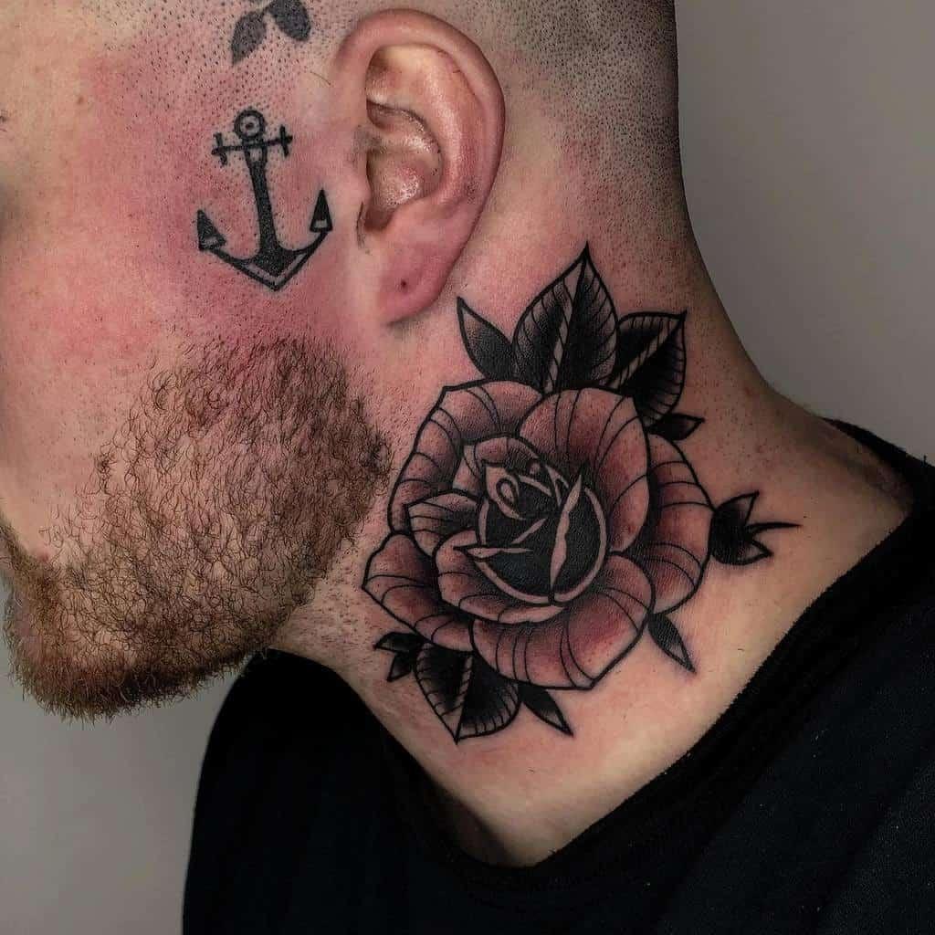 blackwork rose neck tattoos losthopetattooer