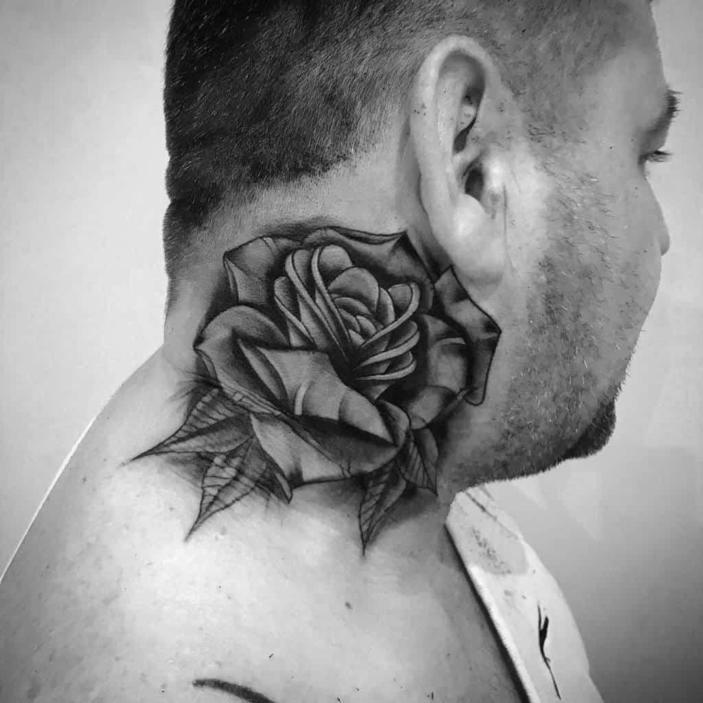 blackwork rose neck tattoos russian__ink